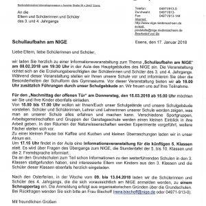 """Informationsveranstaltung """"Schullaufbahn am NIGE"""""""